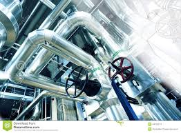 sketch of piping design with industrial equipment photo stock