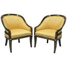 Barrel Accent Chair Pair Of Black Ebonized And Gold Neoclassical Barrel Back Slipper