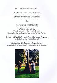 Memorial Booklet War Memorial Little Wenlock Parish Council Little Wenlock
