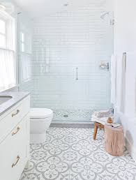 patterned tile bathroom house tour modern eclectic family home shower fixtures white