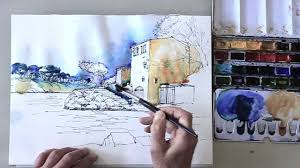 how to draw a landscape step by step and color the sketch with