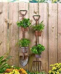 rustic metal shovel pitchfork garden tool hanging planters 2