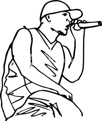 sketch of hip hop singer singing into a microphone vector