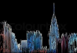 new york city skyline painted by color lines on a black background stock photo