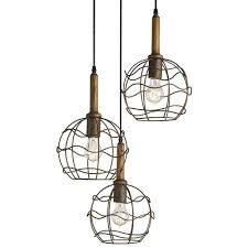 emery industrial loft round wire frame trio pendant light kathy