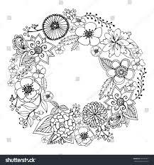 vector circle frame black white wreath stock vector 532797871