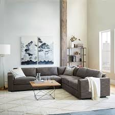 West Elm Sectional Sofa 3 Sectional Charcoal Heathered Tweed West Elm