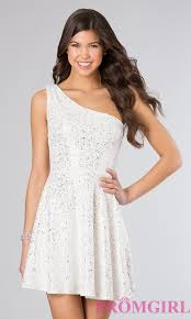 one shoulder glitter holiday party dress promgirl
