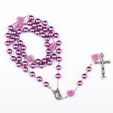 ningxiang 8mm purple rosary catholic rosary necklace for