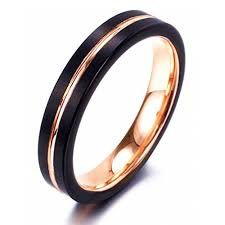 tungsten rings gold images 4mm women 39 s tungsten wedding bands black matte finish with rose jpg