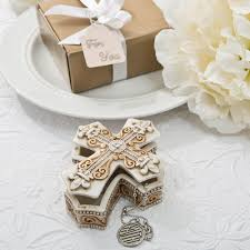 jewelry party favors vintage design cross trinket and jewelry box favors for baptisms