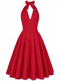 red l halter low back plunge work christmas party dress rosegal com
