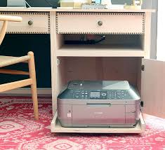 desk with printer storage spring 2016 home tour shallow shelves and trays