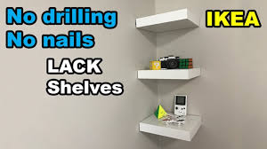 Picture Hangers Without Nails by Ikea Lack Shelf No Drilling No Nails On Wall Youtube