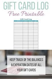 printable gift card gift card log free printable for tracking gift card balances
