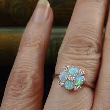 turquoise opal engagement rings antiques atlas opal u0026 diamond cluster ring white gold