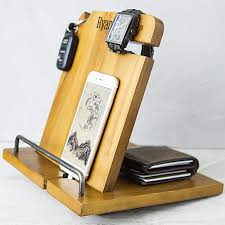 wooden personalized gifts personalized wood phone station organizer