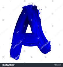 blue paints letter drawn blue paints on white stock illustration 665124238