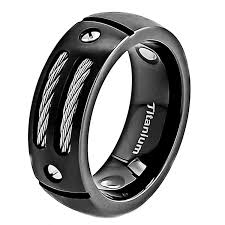 gear wedding ring 8mm men black silver titanium wedding band with stainless steel