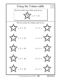 Times Tables Worksheet 3rd Grade Math Worksheets Using The 5 Times Tables Greatschools