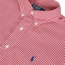 ralph lauren custom fit red white check shirt oxygen clothing
