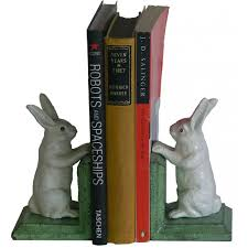 rabbit bookends painted cast iron bunny rabbit bookends green base
