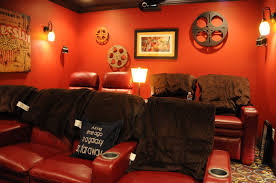 movie room movie room decor with bold red accent in living room