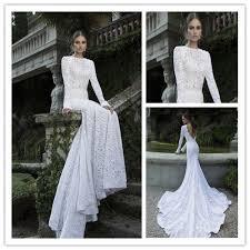 open back white long sleeve lace wedding dresses high neck