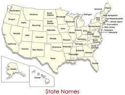 map of 50 us states with names names