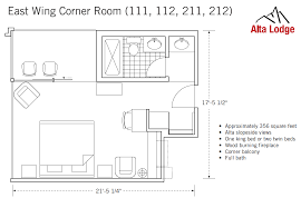 East Wing Floor Plan by Corner Room With Fireplace U0026 Balcony Alta Lodge Utah Ski