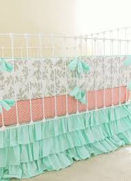 Aqua And Pink Crib Bedding by Mint And Gray Crib Bedding Baby Nursery Peach And Mint