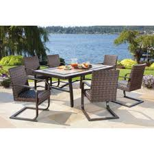 costco 1500 santa ana 7 piece resin wicker patio dining set deck