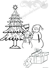 snowman with gifts and christmas tree coloring pages