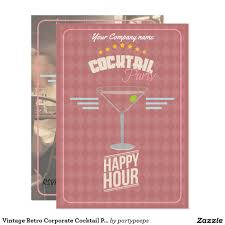 vintage retro corporate cocktail party invitation corporate