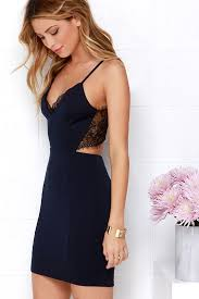 the lacy look of the heartbeat song black and navy blue backless