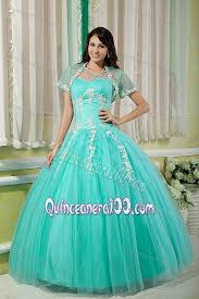 dresses for sweet 15 turquoise sweetheart appliques capelet dress for sweet 15