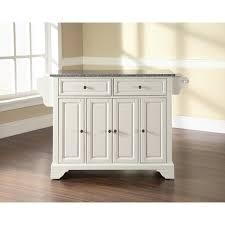 lafayette solid granite top kitchen island in white finish crosley