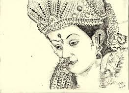 face sketch of durga maa drawing sketch library