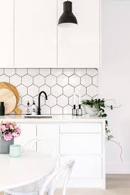 white kitchen cabinets with hexagon backsplash 45 eye catchy hexagon tile ideas for kitchens digsdigs