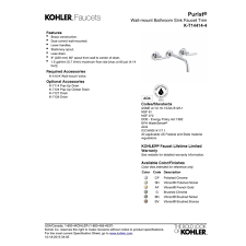 Watersense Kitchen Faucet by Kohler K T14414 4 Cp Purist Polished Chrome Wall Mount Bathroom