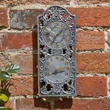 Garden Wall Clocks classic westminster wall clock u0026 thermometer from ruddick garden gifts