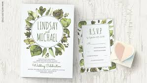 wedding invitations greenery modern wedding wedding invitations by jinaiji