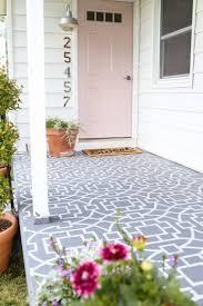 geometric stencils add bold style to a concrete porch stencil