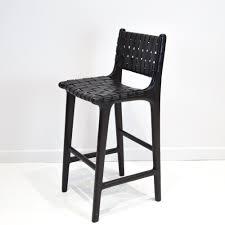 Black Bar Stool Black Leather Weave Bar Stool With Back Furniture U0026 Millwork