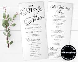 diy wedding ceremony program tea length wedding program template diy wedding program order