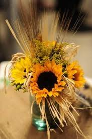 Sunflower Wedding Centerpieces by Mason Jars And Wheat With Sunflowers Would Be Cute Baby Shower