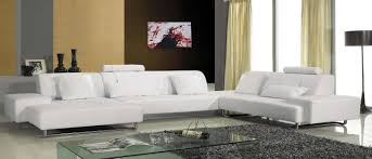 Leather And Microfiber Sectional Modern White Leather Sectional
