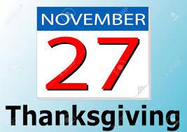 27 of november thanksgiving day calendar date royalty free
