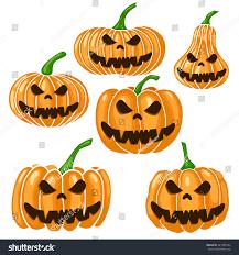 halloween scary clipart set halloween scary pumpkin vector illustration stock vector