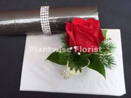 Red Rose Wrist Corsage 2a Diamante Wrist Corsage With Fresh Rose Flower For Prom Or